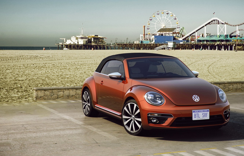 Photo wallpaper sand, Concept, beach, beetle, Volkswagen, day, the concept, convertible, Volkswagen, Beetle, Cabriolet, 2015, Wave
