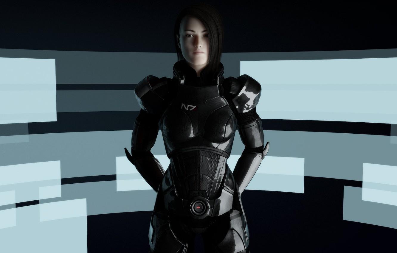 Photo wallpaper girl, abstraction, armor, Mass Effect, Shepard, fan art, Shepard