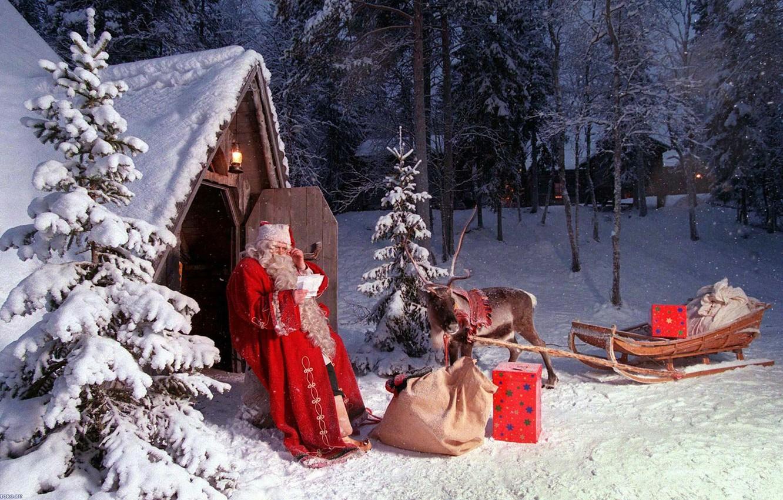 Photo wallpaper winter, new year, Christmas, deer, Santa Claus
