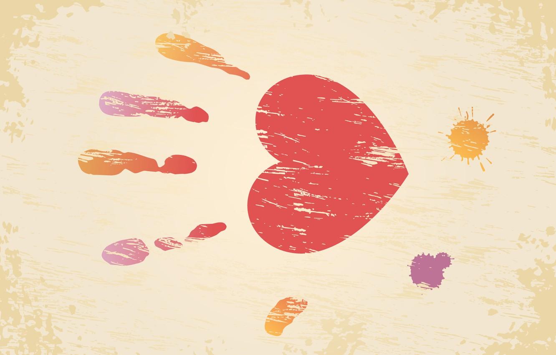 Photo wallpaper heart, blot, Valentine's day, palm, Valentine's day, imprint, valentines day