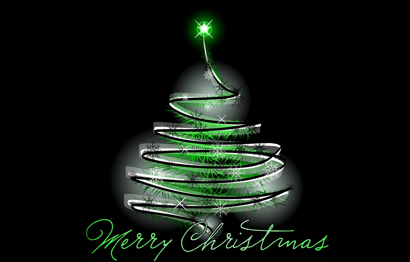 Photo wallpaper tree, garland, congratulations, merry christmas
