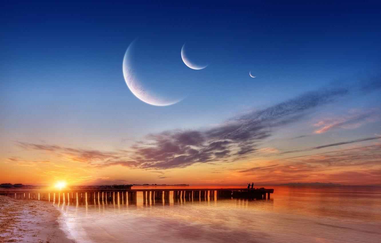 Photo wallpaper sea, planet, pierce
