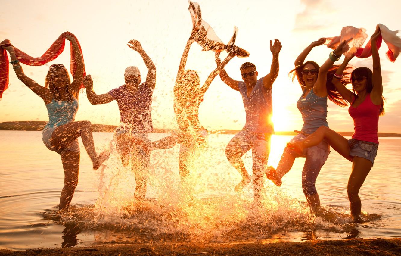 Photo wallpaper beach, mood, party, dancing, fun, youth