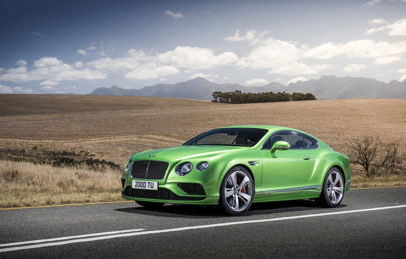 Photo wallpaper photo, Bentley, Continental, Car, GT Speed, 2015, Green, Metallic, Luxury