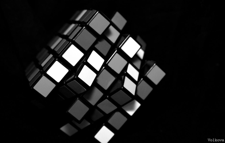 Photo wallpaper white, black, Rubik's cube