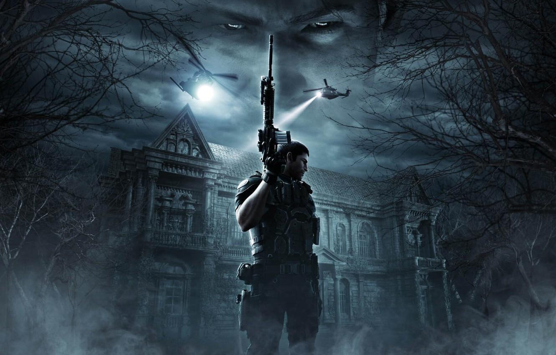 Photo wallpaper cinema, gun, pistol, house, game, forest, soldier, armor, sky, weapon, cloud, Resident Evil, man, Umbrella, …