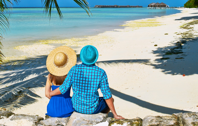 Photo wallpaper sea, beach, tropics, Palma, stay, pair, walk