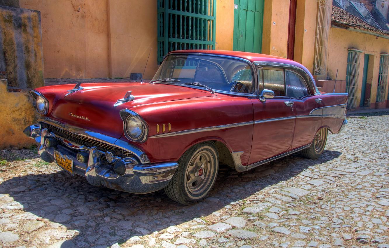 Photo wallpaper machine, retro, Wallpaper, Chevrolet, old, car, Cuba, Havana