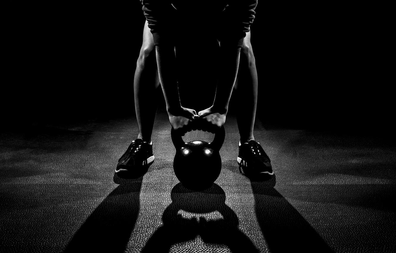 Photo wallpaper man, pose, workout, shades, crossfit, kettlebell
