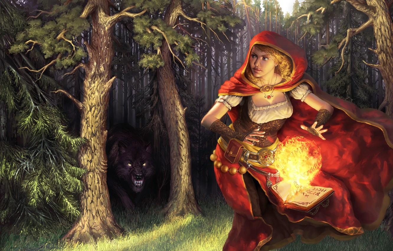Photo wallpaper forest, girl, trees, fire, magic, ball, wolf, predator, little red riding hood, art, book, cloak, …