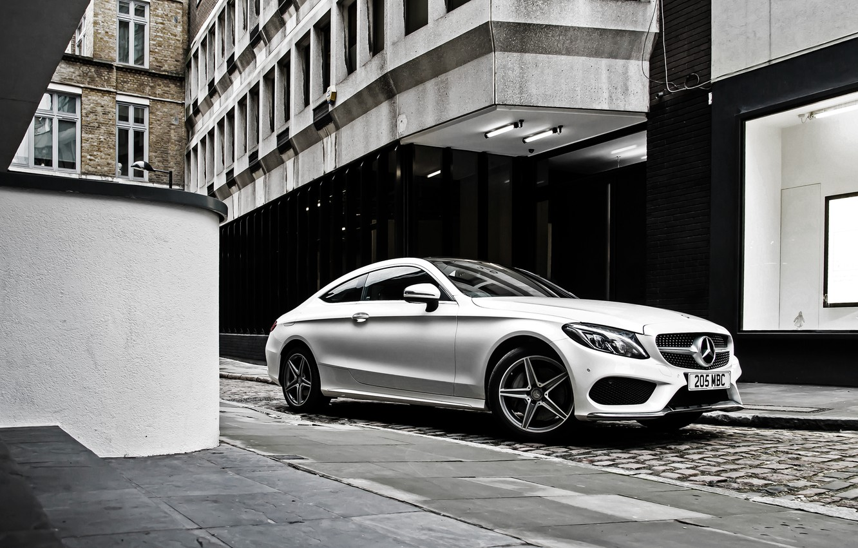 Photo wallpaper white, Mercedes-Benz, Mercedes, AMG, Coupe, C-Class, C205