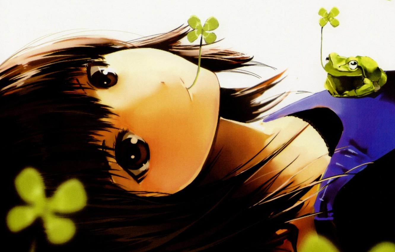 Photo wallpaper girl, sheet, frog, art, leaf, clover, happy, pixiv girls collection, nauribon
