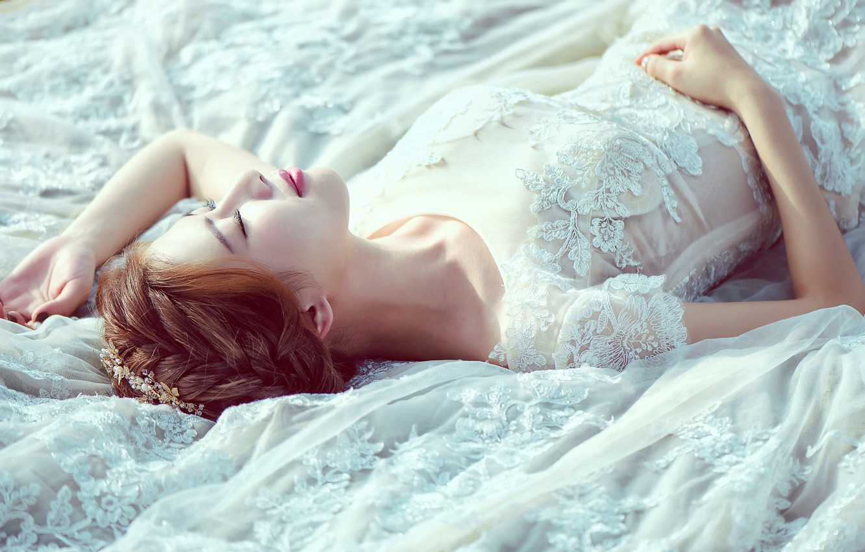 Photo wallpaper girl, dress, the bride