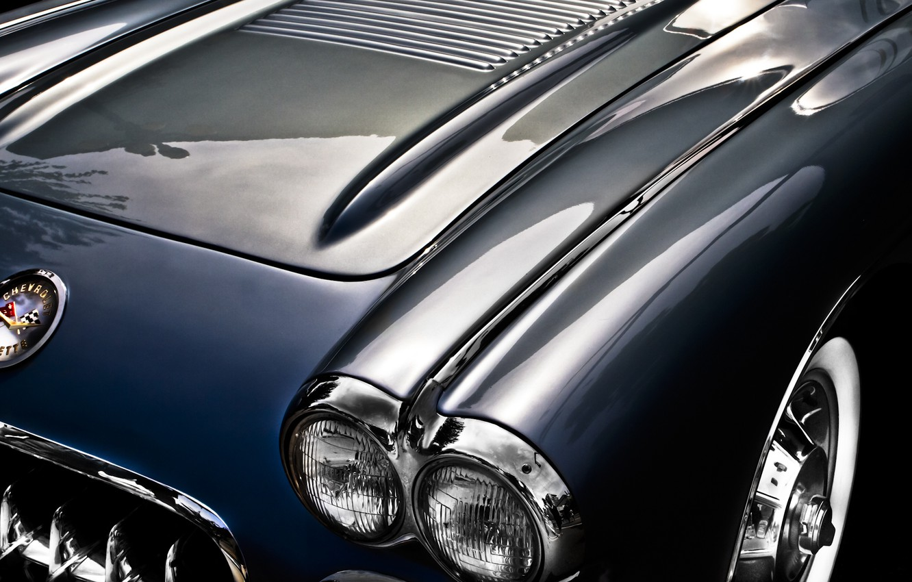 Photo wallpaper background, Corvette, Chevrolet, the hood, Chevrolet, classic, 1957, Corvette