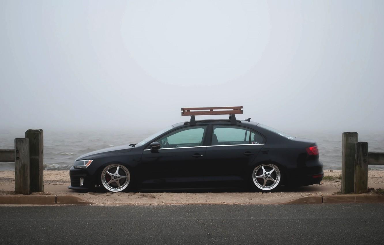 Photo wallpaper the sky, fog, shore, Volkswagen, Jetta, MK6