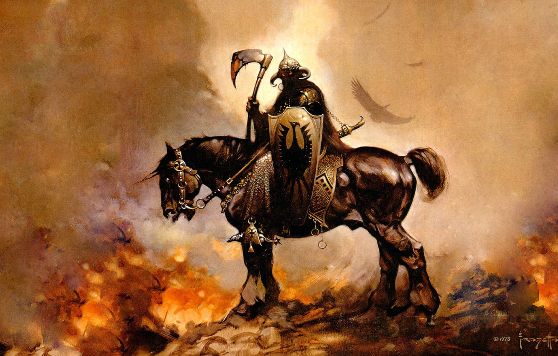 Photo wallpaper fire, horse, figure, fantasy, rider, frazetta