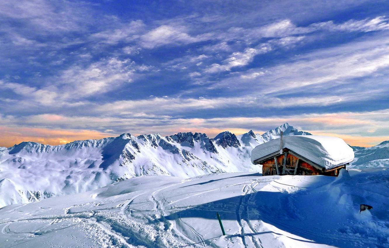 Photo wallpaper winter, the sky, clouds, snow, landscape, nature, house, rocks, mountain, rock, house, white, sky, landscape, …