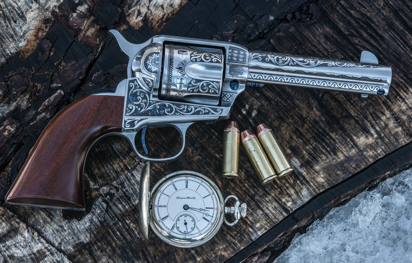Photo wallpaper weapons, background, watch, trunk, cartridges, revolver, the handle