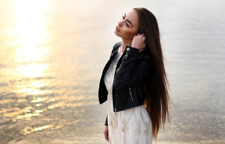 Photo wallpaper girl, river, mood, dawn, white, morning, dress, brunette, jacket