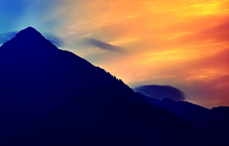 Photo wallpaper the sky, landscape, mountain