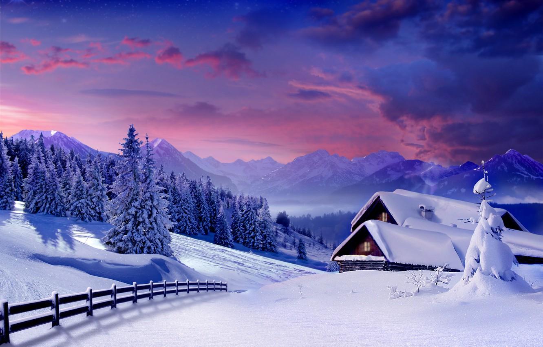 Photo wallpaper winter, snow, tree, village, hut, landscape, winter, snow