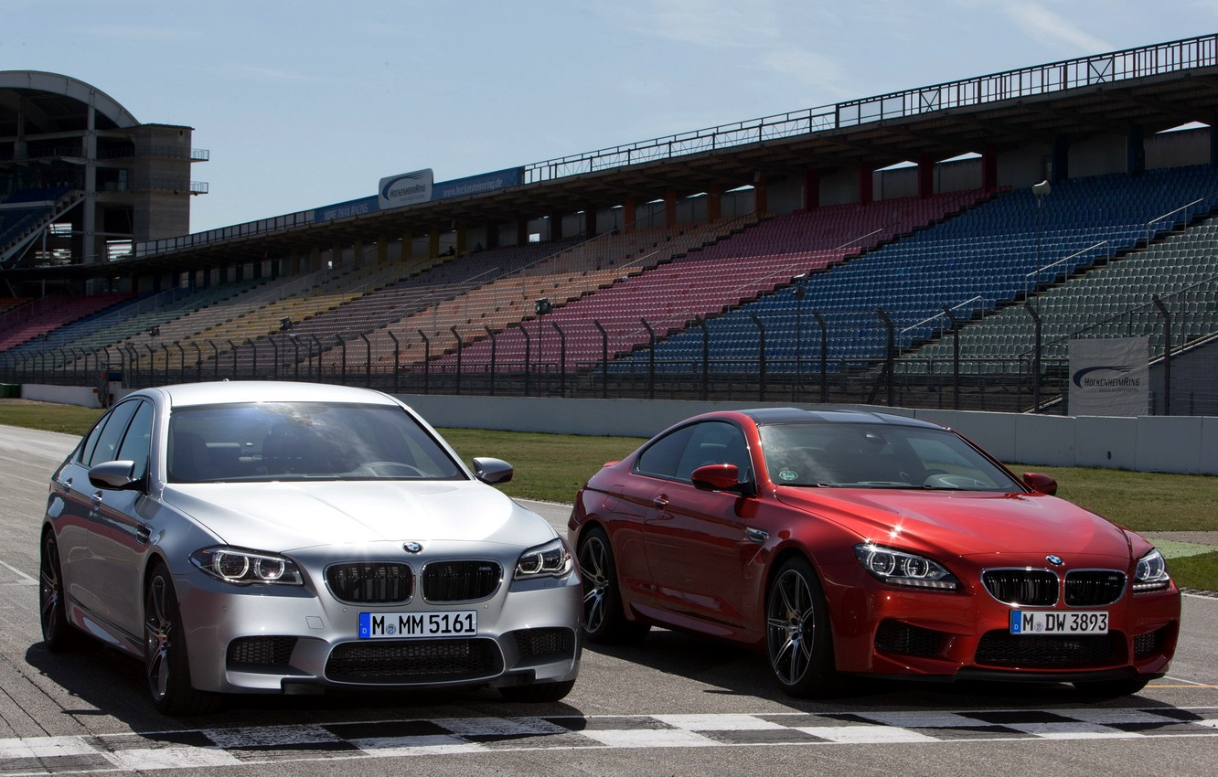 Photo wallpaper track, front view, cars, and, BMW M5, Competition Package, BMW M6 Coupe