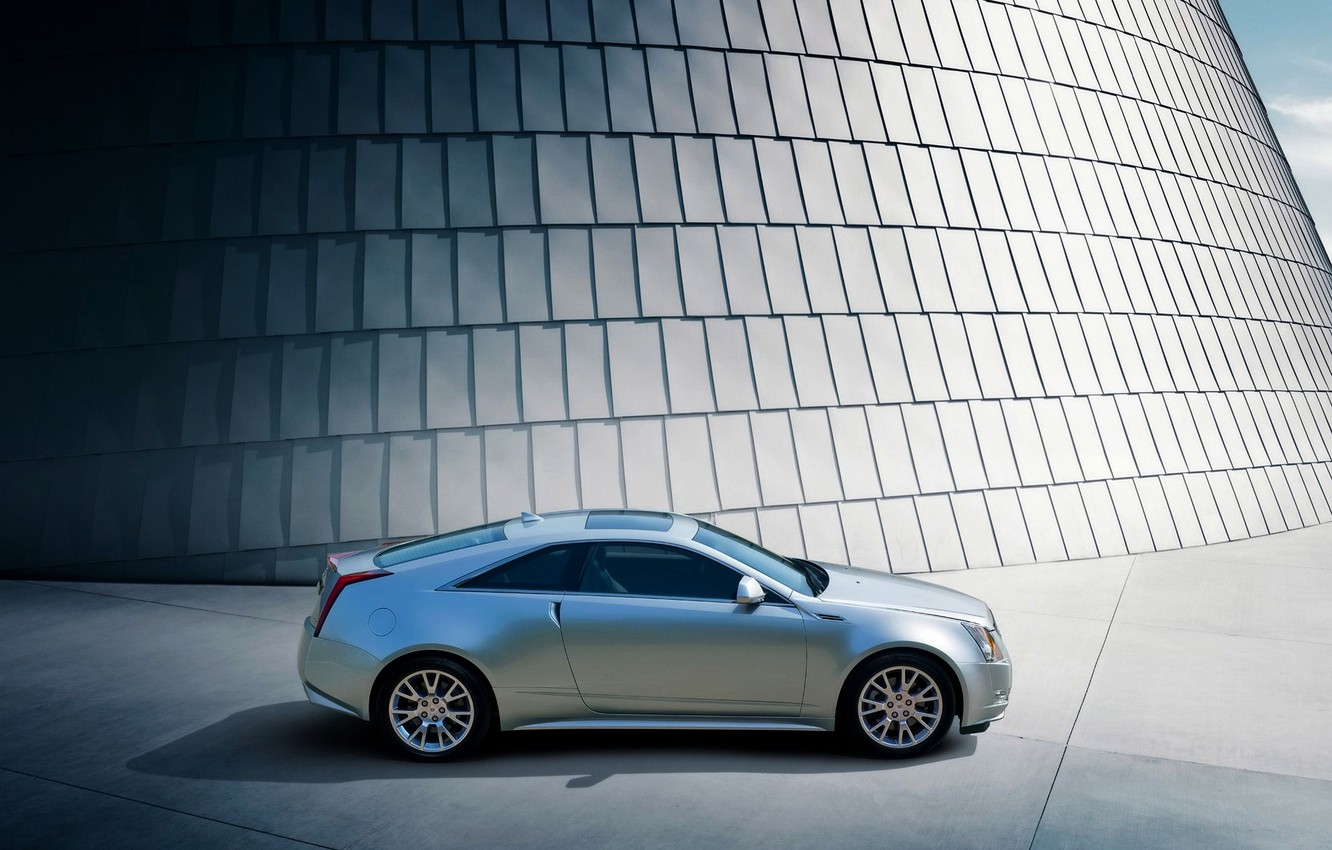 Photo wallpaper Cadillac, Auto, Grey, Shadow, CTS, coupe, Coupe, Side view