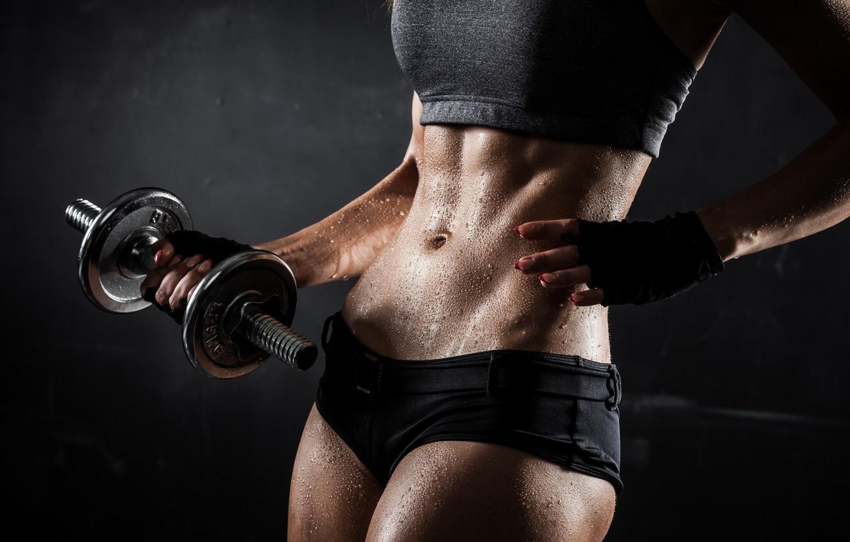 Photo wallpaper woman, fitness, perspiration