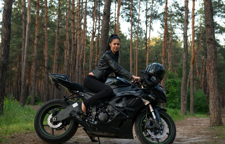 Photo wallpaper model, Girl, motorcycle, Macy B