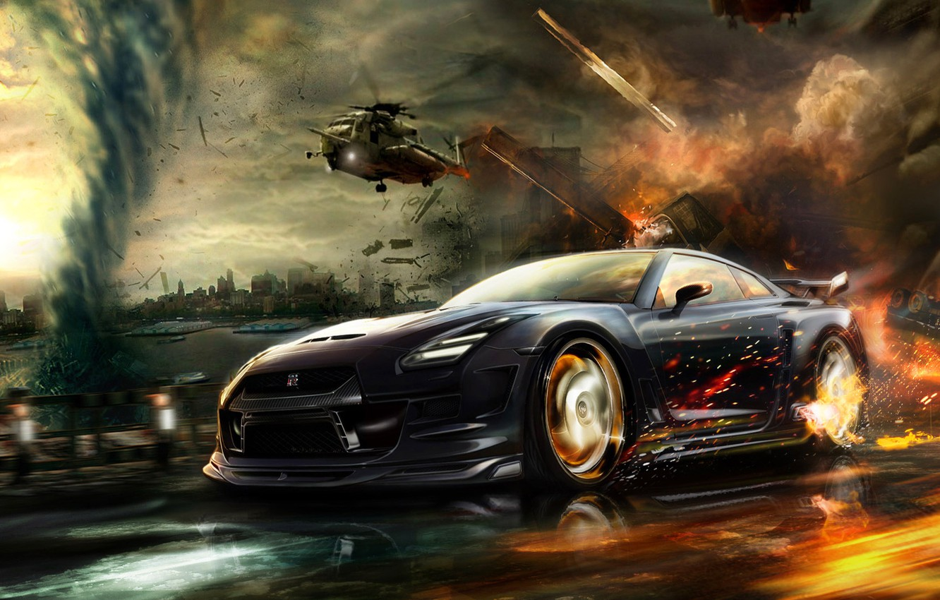 Photo wallpaper car, machine, the city, fire, speed, chase, helicopters, car, nissan, tornado, gt-r, the fire