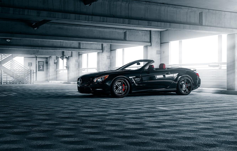 Photo wallpaper Mercedes-Benz, Car, Front, Black, Parking, Cabrio, SL550