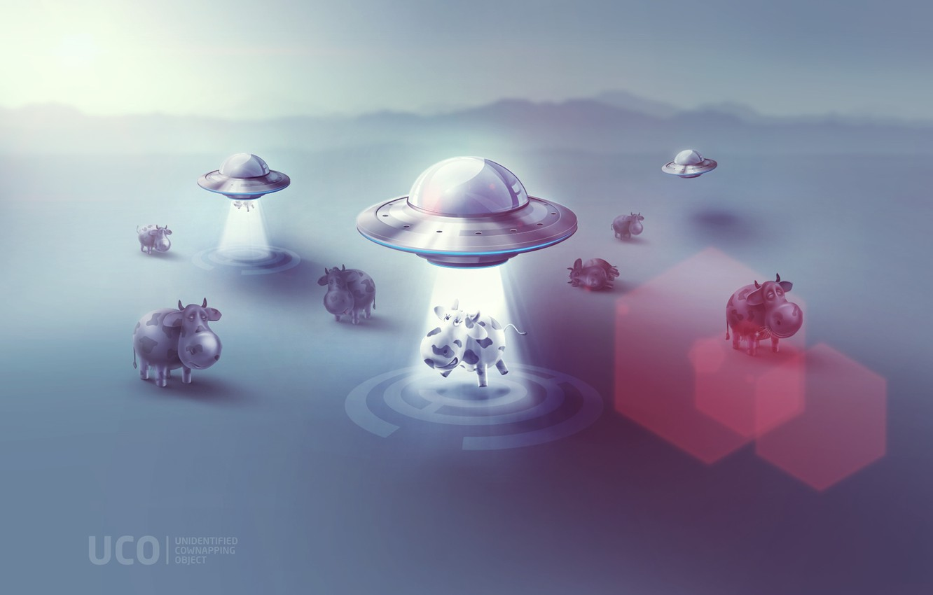 Photo wallpaper UFO, cow, humor, cows, plate, ufo, plates, kidnapping, uco