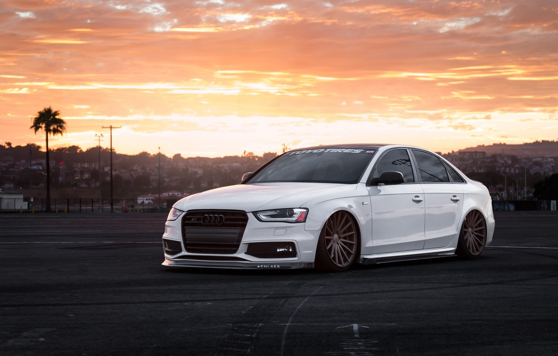 Photo wallpaper Audi, Car, Front, Sunset, White, Stance, Vossen, Wheels, Tuned, Ligth