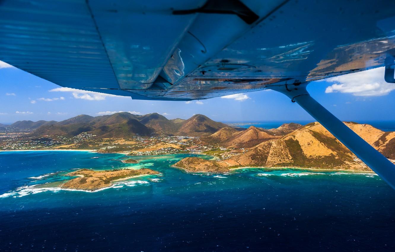 Wallpaper Sea Mountains The Plane Island Wing Saint