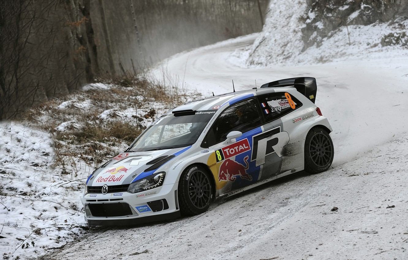 Photo wallpaper Winter, Auto, White, Snow, Forest, Sport, Volkswagen, Machine, Turn, Lights, Red Bull, WRC, Rally, The …