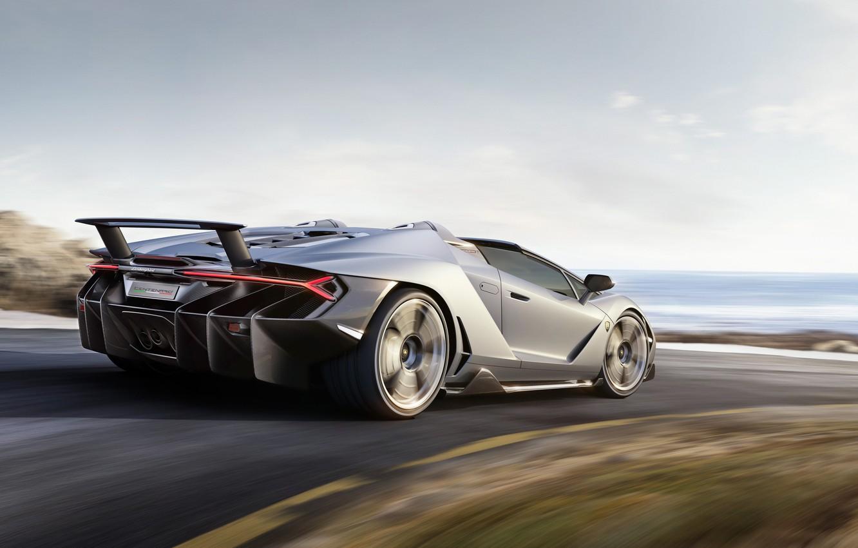 Photo wallpaper road, car, auto, the sky, Roadster, speed, Lamborghini, speed, Lamborghini, Centennial