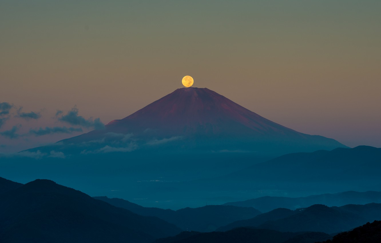 Photo wallpaper autumn, the sky, night, the moon, mountain, Japan, Fuji, September, stratovolcano, Mount Fuji, the island …