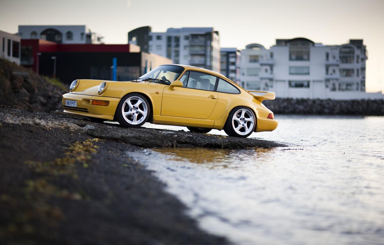 Photo wallpaper Carrera 4, Porsche 911, yellow, Supercharged