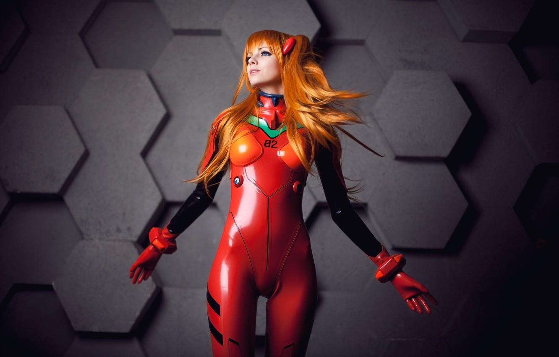 Photo wallpaper girl, costume, Neon Genesis Evangelion, cosplay, simple background, Asuka Langley