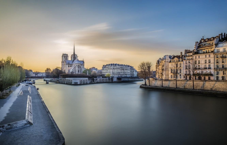 Photo wallpaper sunset, river, Paris, Hay, Notre Dame de Paris, Notre Dame Cathedral