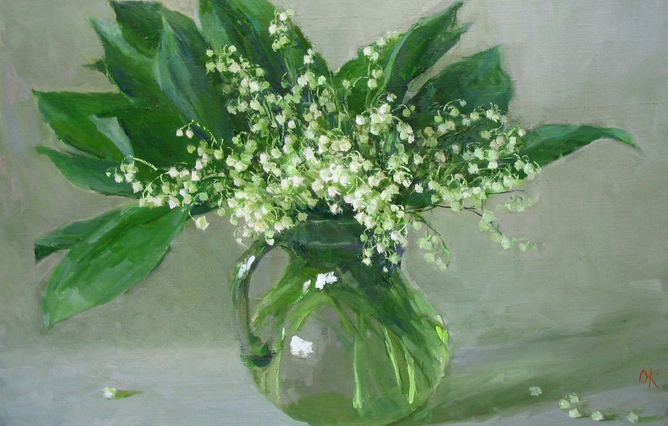 Photo wallpaper water, bouquet, picture, vase, Lily of the valley