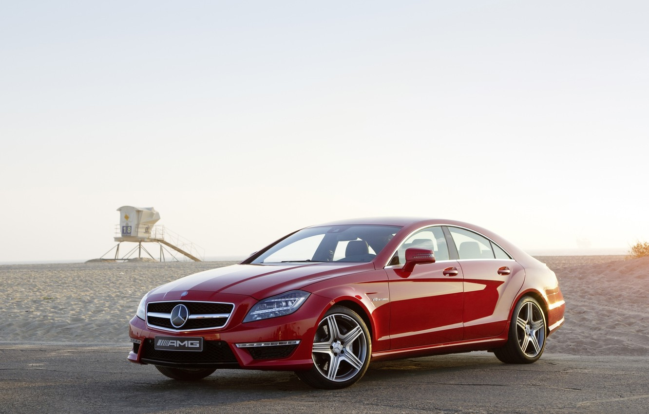 Photo wallpaper beach, the sky, red, Mercedes-Benz, sedan, Mercedes, AMG, the front, AMG, цлс63, CLS63