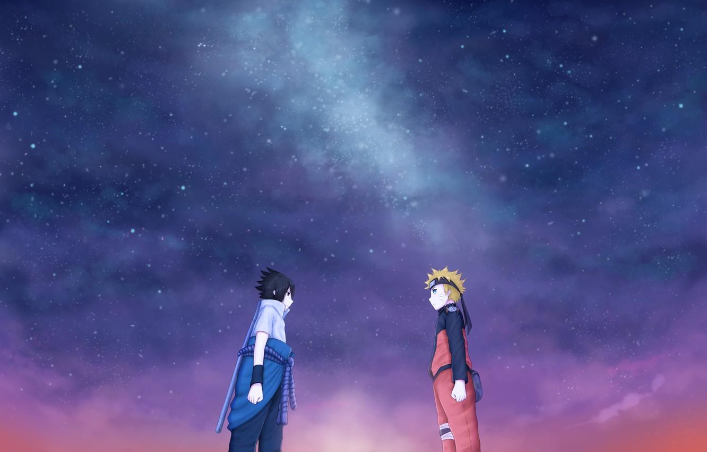 Photo wallpaper friends, naruto, art, sasuke, starry sky, juneau