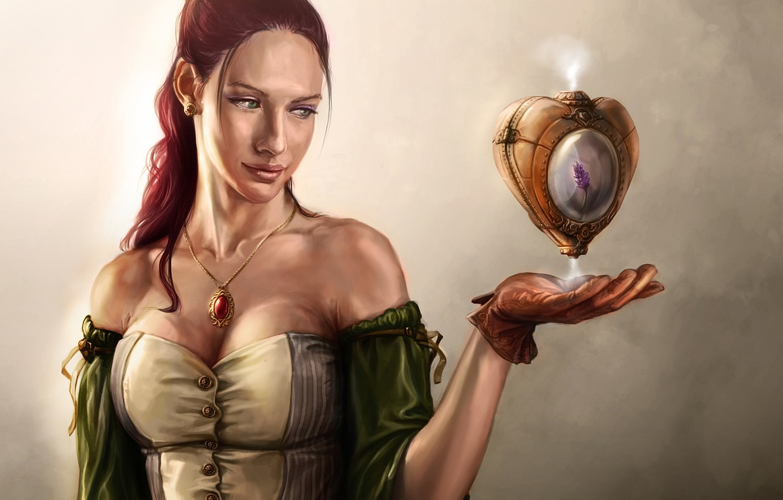 Photo wallpaper heart, Girl, dress, pendant, steampunk, gloves