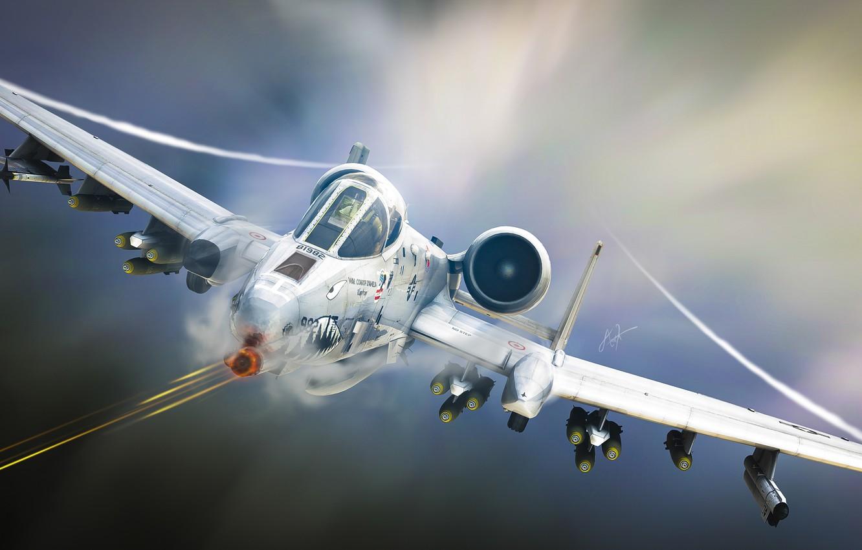 Photo wallpaper aviation, art, attack, the plane, A-10, Tankbuster