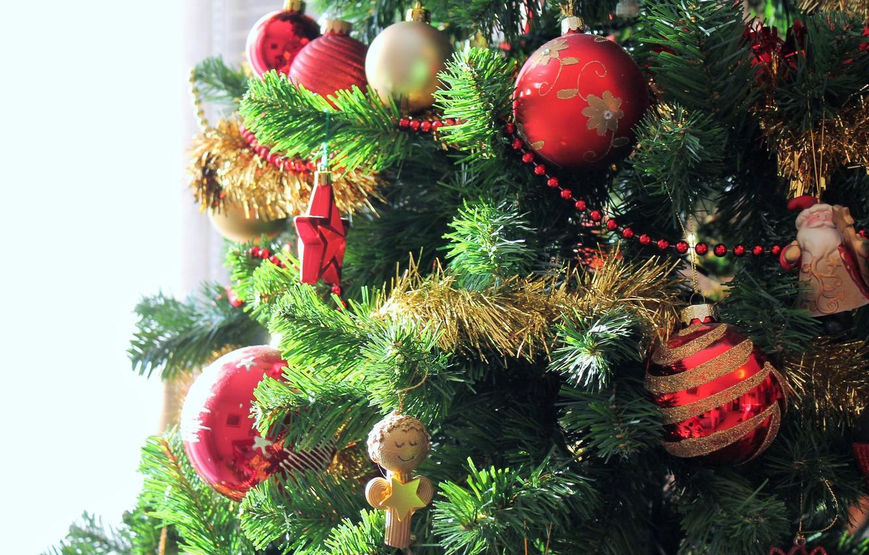 Photo wallpaper balls, decoration, mood, holiday, toys, new year, Christmas, beads, tree, Santa Claus, Santa Claus, tinsel, …