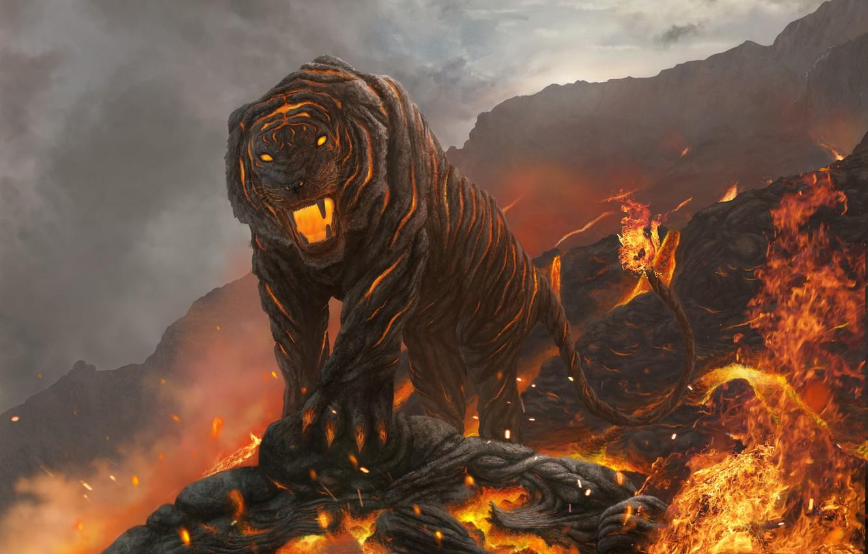 Photo wallpaper cat, mountains, tiger, fire, art, mouth, lava