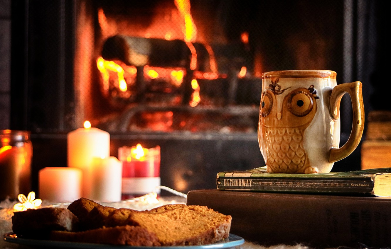 Photo wallpaper dessert, bread, tea, fireplace, candle, owl, books, mug