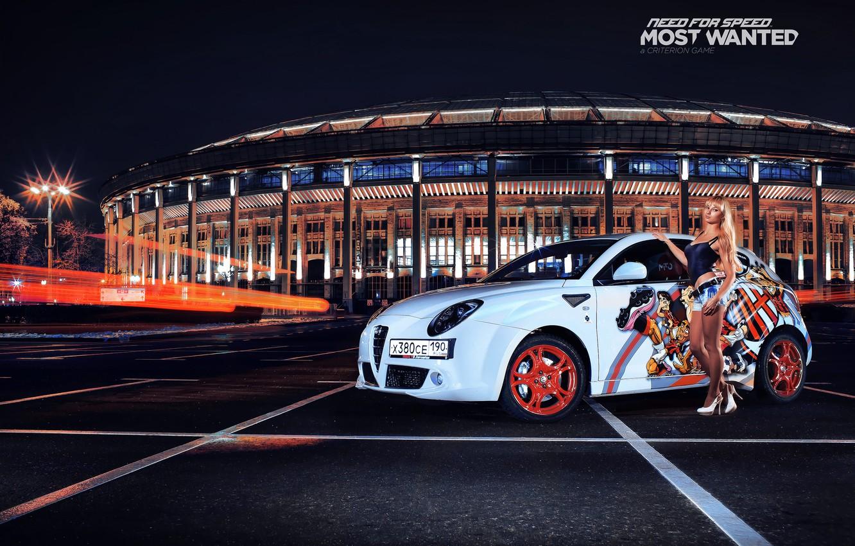 Photo wallpaper blonde, white, Alfa Romeo, Parking, nfs, most wanted, smotra, Mito
