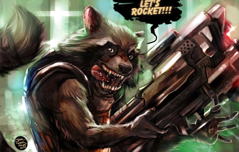 Photo wallpaper raccoon, Marvel, rocket, raccoon, Guardians of the Galaxy